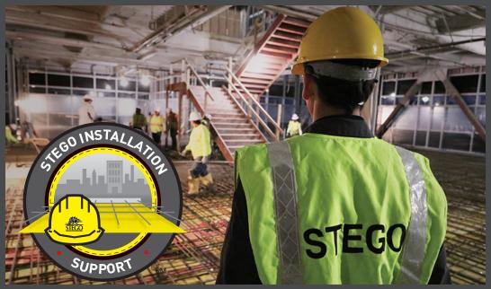 Stego Wrap Vapor Barrier, Stego Installation Support, Vapor Retarder, Stego