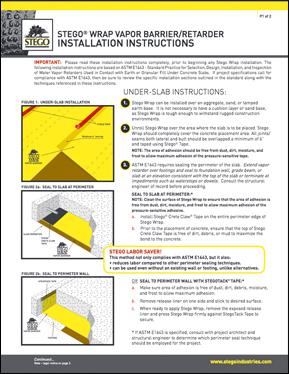 Stego Wrap Vapor Barrier Installation Instructions