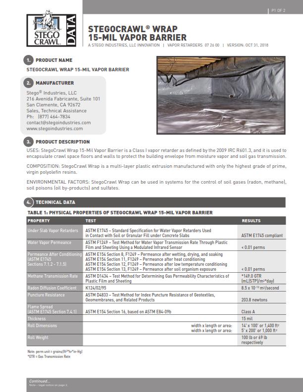 StegoCrawl-Wrap-Vapor-Barrier-Data-Sheet-First-Page