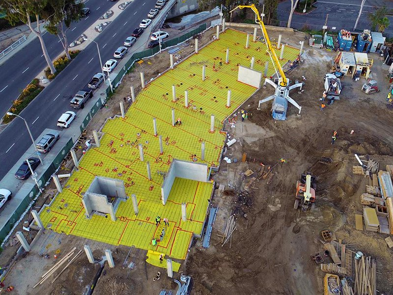 Aerial view of Stego Wrap installation at unfinished construction site